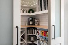27 a comfortable pantry is a must for a millennial kitchen, and sliding doors are very functional and efficient