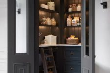 a practical pantry design with built-in lights