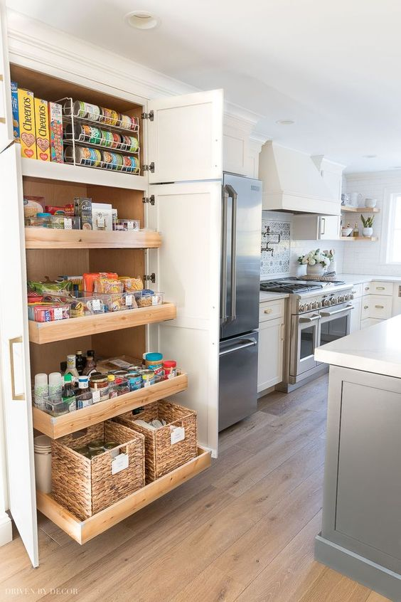 a mini pantry with drawers and doors is a lovely idea for those who don't have enough space for a large one