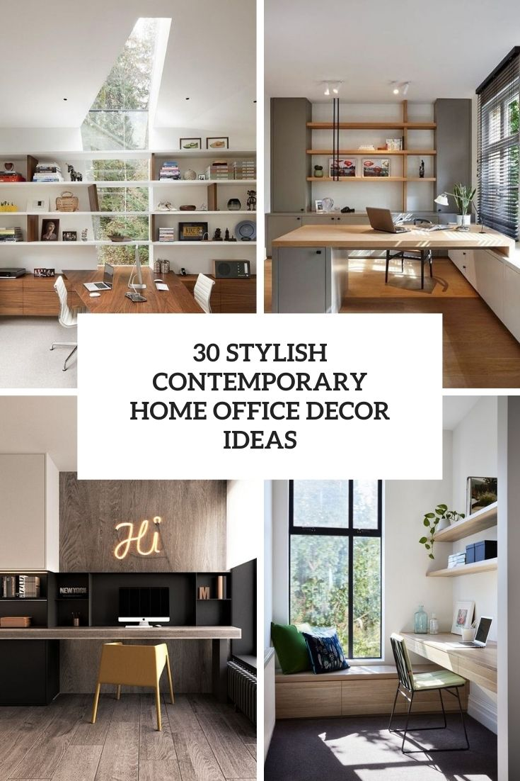 stylish contemporary home office decor ideas cover