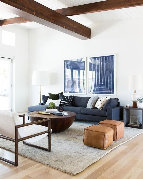 a mini gallery wall in navy and white echoes with the sofa and adds a cool accent to the space while adding a bit more of color