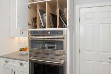 34 a cabinet built in over some appliances is a lovely idea for a modern kitchen, it will let you use this awkward space