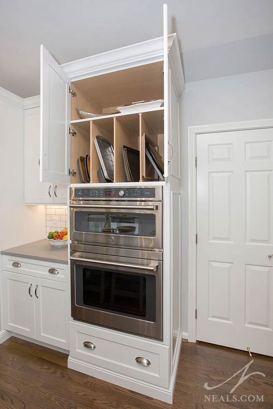a cabinet built in over some appliances is a lovely idea for a modern kitchen, it will let you use this awkward space