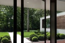 a black framed pivot glass door is a very ethereal and lightweight solution for a contemporary or minimalist home