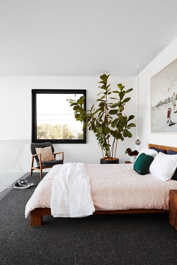 a chic bedroom with stained furniture, pastel bedding, a statement artwork and a statement potted plant is very welcoming