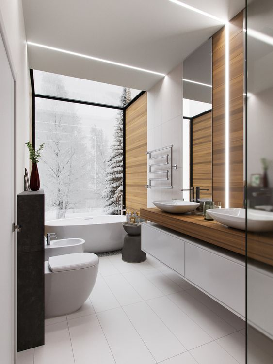 a contemporary bathroom with a panoramic view, a chic tub, wood-imitating tiles, long ones, a floating double vanity and a mirror