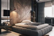 wood clad walls adds a touch of coziness to any bedroom