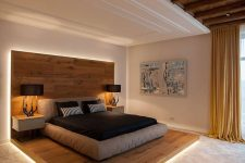 a contemporary bedroom design inspired by chalet interiors