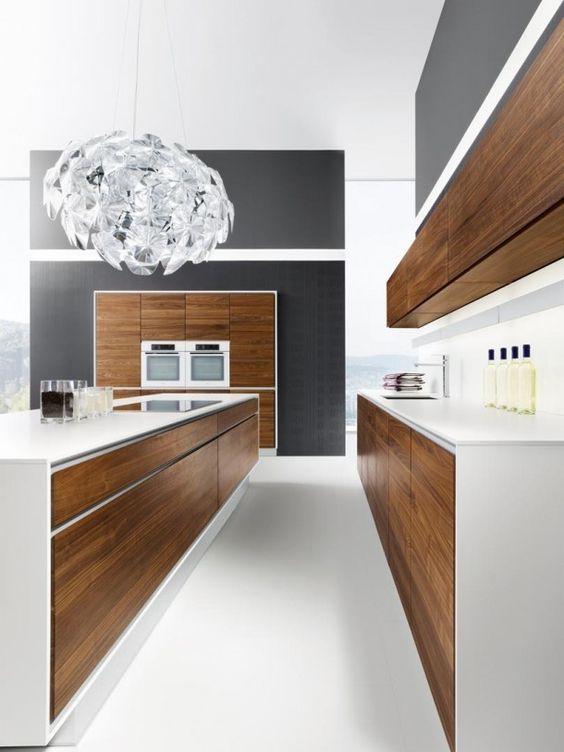 a stylish minimalist kitchen design with wooden cabinets