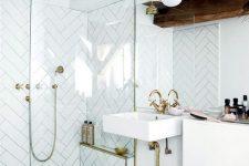 a geometric bathroom design with white tiles
