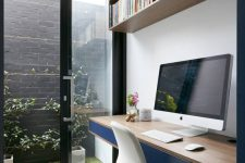 a cozy home office design with a practical floating desk