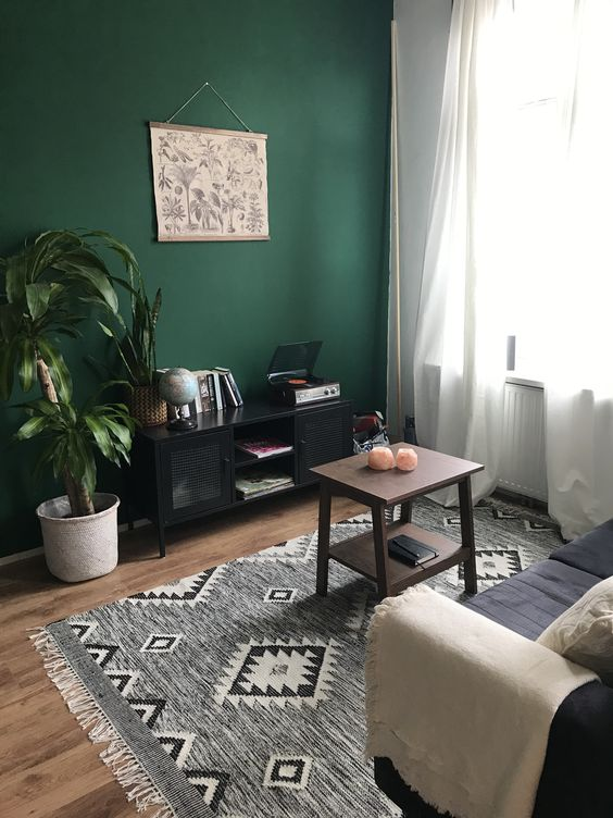 a small boho living room with a green accent wall, a black sofa and printed textiles, a black storage unit, a potted plant and a coffee table