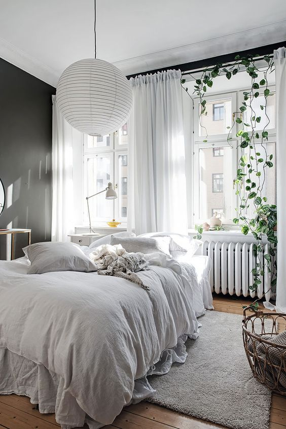 an airy Scandinavian bedroom with a black accent wall, a bed with neutral bedding, a climbing plant and neutral textiles