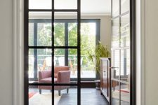 black French doors for inner spaces are a chic idea for many interiors – though they are black, they provide enough natural light