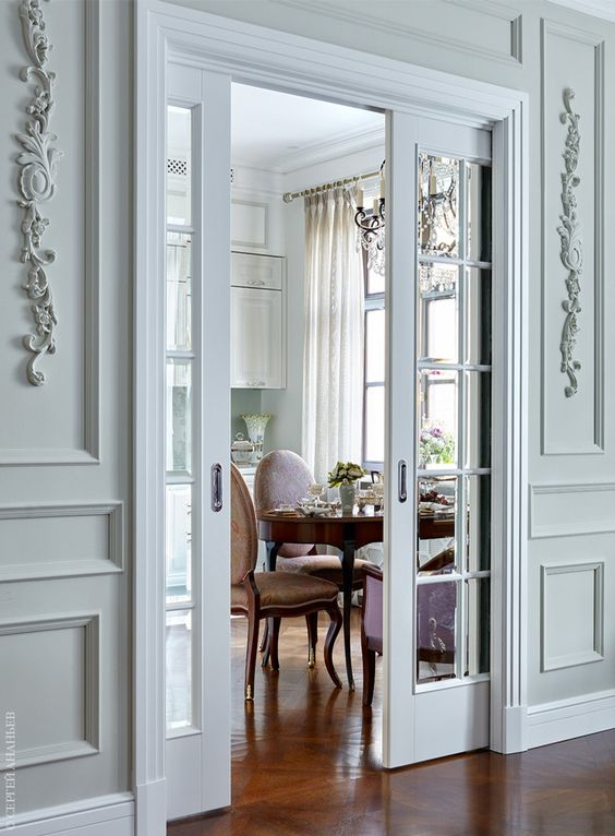 delicate white sliding French doors are adorable for refined spaces, too, they don't take space and delicately separate it