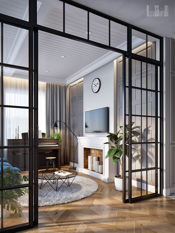 elegant black French doors like these ones will delicately sepaarte the space and let all the rooms be filled with natural light