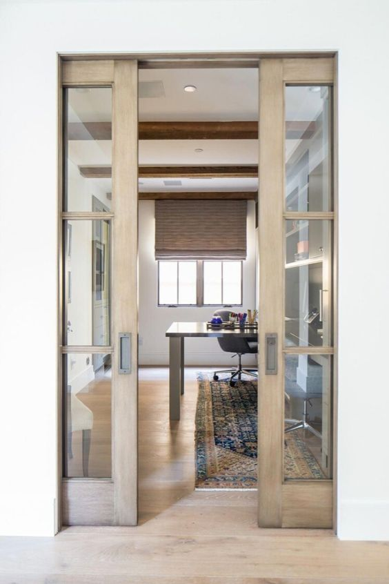 stylish stained French sliding doors won't take any space, will separate the areas of your home and will add a slight rustic touch