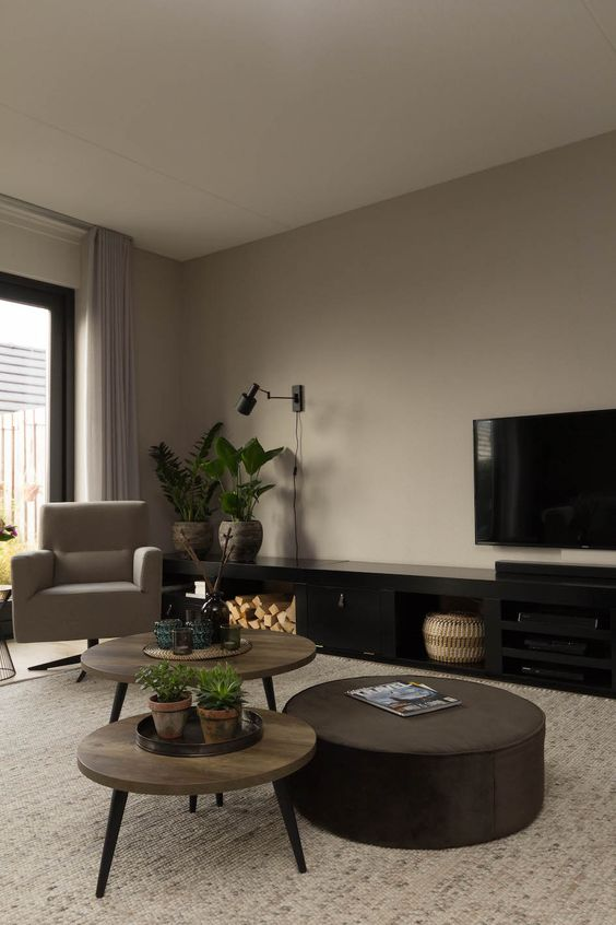 a taupe living room with a taupe chair, a duo of plywood coffee tables, a black TV unit, a brown round ottoman and potted plants