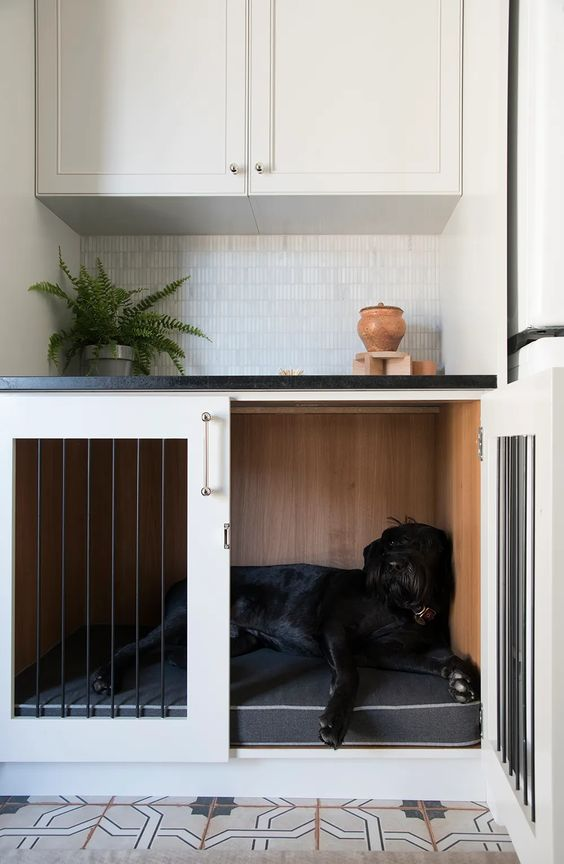 a kitchen nook with a lower cabinet turned into a dog crate is a cool and very functional idea for your home