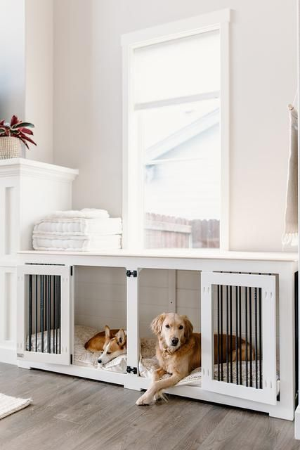 a long and low dog crate made of a cabinet is suitable for two dogs at a time and looks pretty and airy