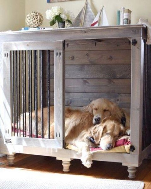 a rich-stained dog kennel with a sliding door and mattress taken by two pets doubles as a side table in a famrhouse room