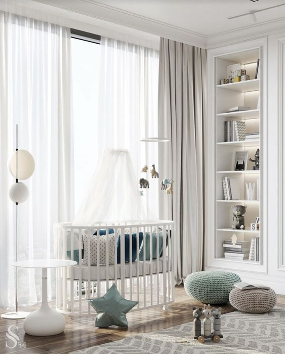 a stylish contemporary nursery with built-in and lit up shelves, a white crib, a printed rug, grey and aqua touches plus floor lamps