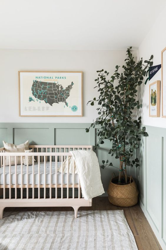 a welcoming nursery with green paneling on the wall, a stained nursery, a map, a statement plant and printed textiles is cool