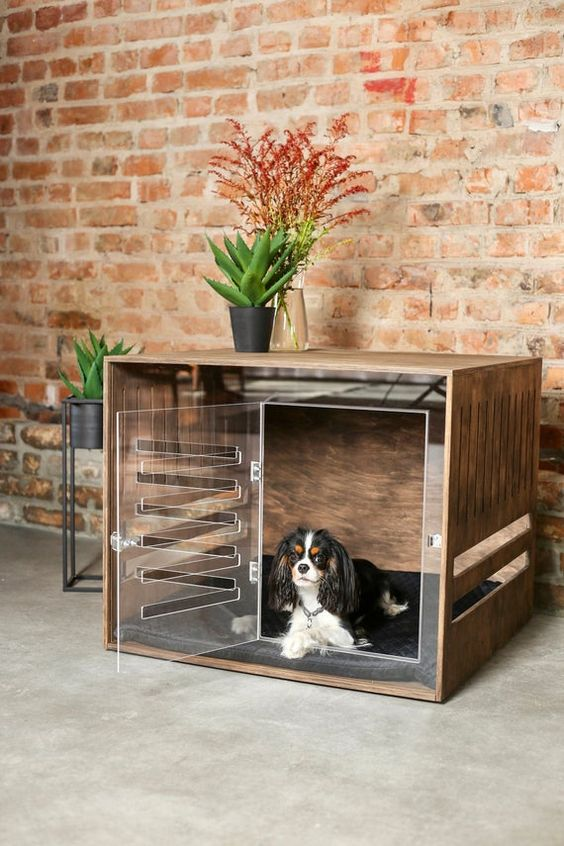 an ultra-modern dog crate of plywood and with a sheer acryl front and a door to make it look more lightweight
