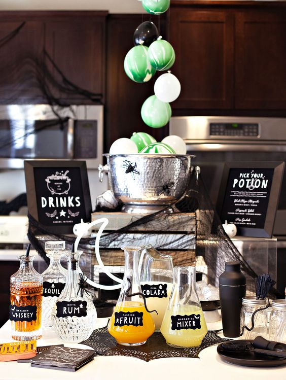 a cute halloween drink station