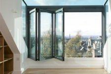 20 a folding window can double as a comfortable entrace to the balcony and will be amazing for letting fresh air and natural light coming in