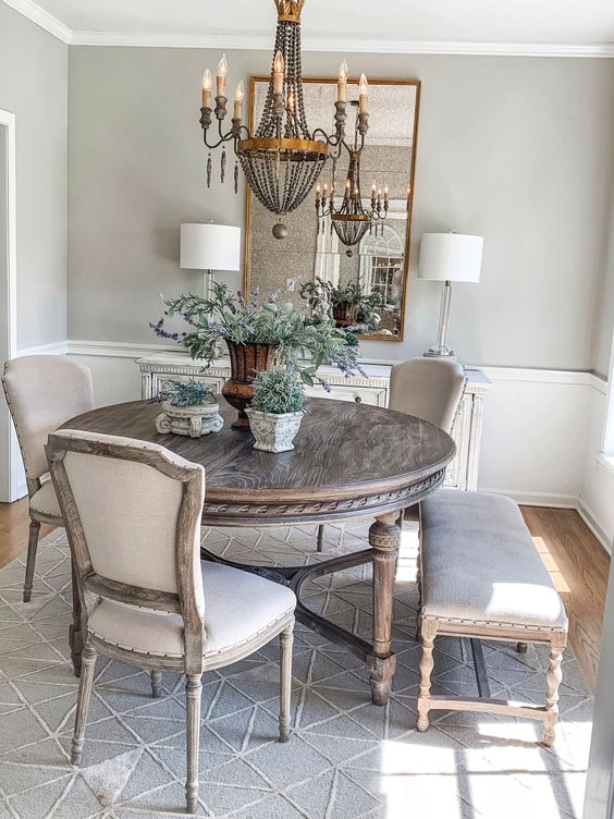 a stylish country dining room design in neutral tones
