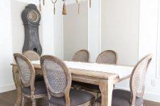 a simple neutral farmhouse dining room design