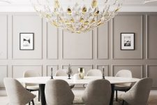 a gorgeous greige dining room with a paneled wall