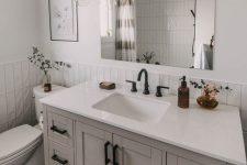 a black/white/greige bathroom design