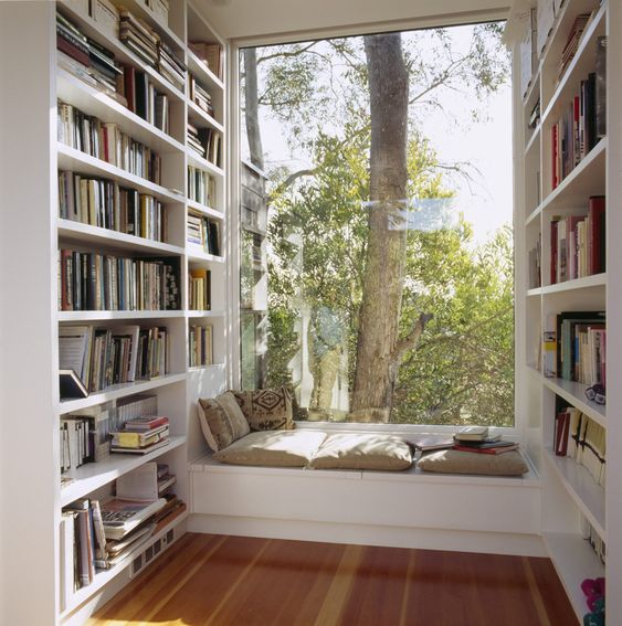 a contemporary windowsill nook with a bench with pillows and cushions and lots of bookshelves taking each wall