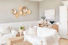a cute neutral farmhouse living room design