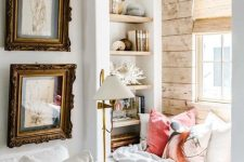 a small windowsill sseat, built-in shelves on each side of the window and bright pillows and a blanket is a lovely space to read and not only