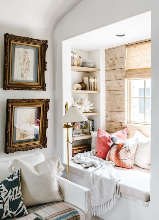 a small windowsill sseat, built in shelves on each side of the window and bright pillows and a blanket is a lovely space to read and not only