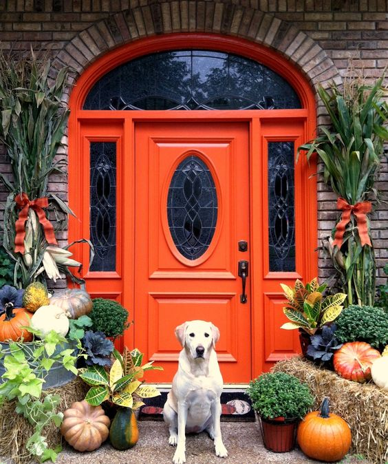 a vintage orange front door with refined maosic glass inserts and with lush natural fall decor that highlights the look and the color