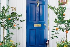 an electric blue front door with gold touches highlighted with electric blue planters with trees, blooms and greenery