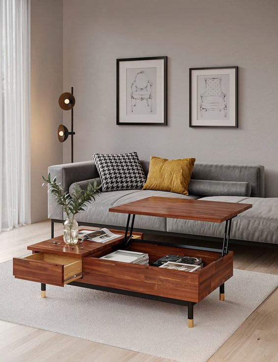 an elegant greige mid century modern living room with a grey couch, a mini gallery wall, a pretty coffee table with a raising tabletop
