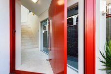 a bold red front door design