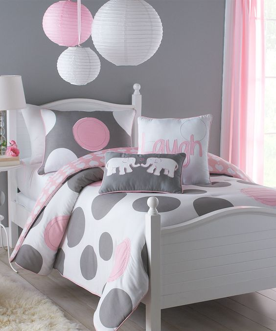 grey and pink polka dot bedding