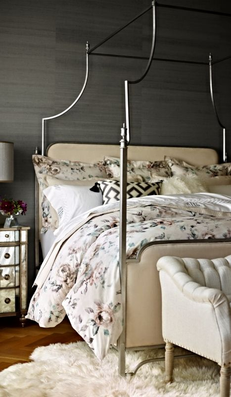 neutral floral bedding set