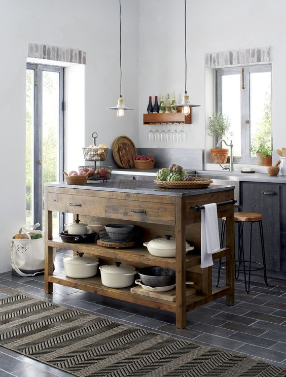 open kitchen island with tableware storage