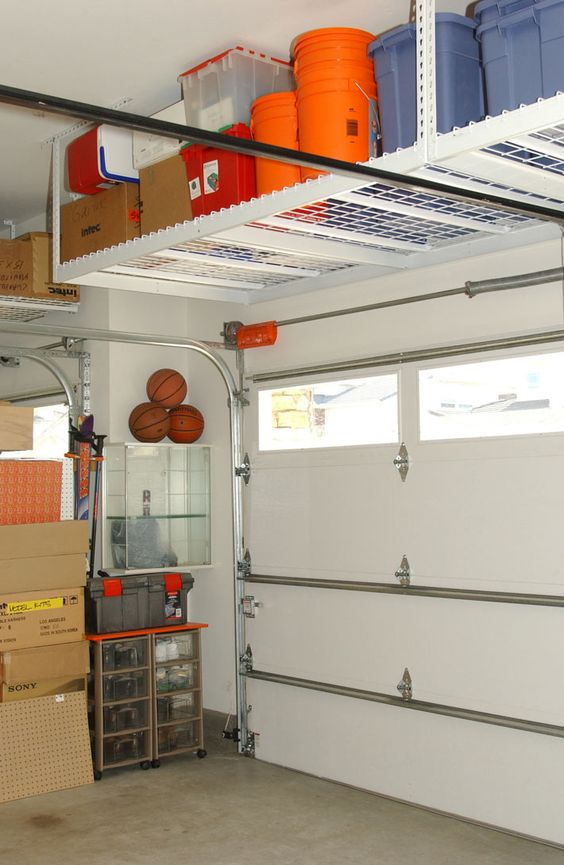 metal ceiling shelves for plastic tubs
