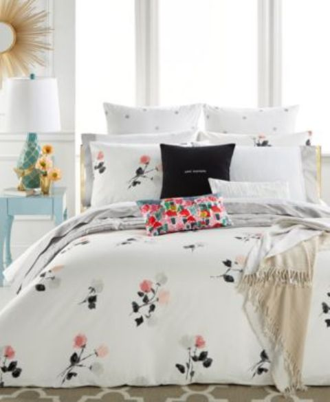 neutral floral bedding