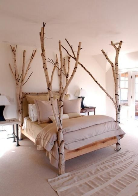 rough birch wood bed