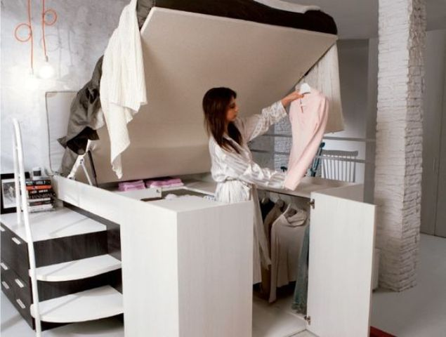 space-saving bed with a closet under it