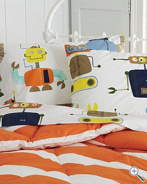 colorful robot bedding